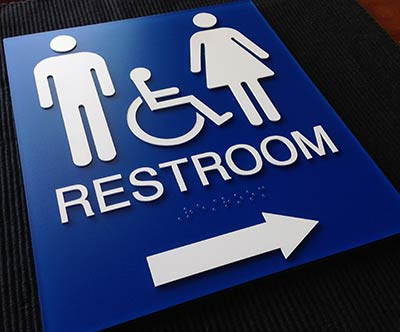 restroom directional sign. Unisex Wheelchair Accessible Restroom Sign With Arrow Directional