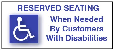 Table Reserved for Customers with Disabilities sign