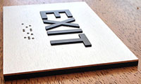 Side View Brushed Aluminum Braille Exit Sign from ADASignDepot.com