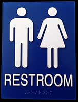 Superbe Unisex Bathroom Signs With Male And Female Symbols, Text And Braille
