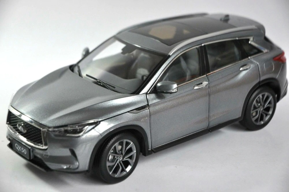 1:18 Diecast Model for Nissan Infiniti QX50 2018 Gray SUV Alloy Toy Car Miniature Collection Gifts Hot Selling QX EX25