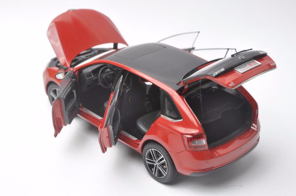 1:18 Diecast Model for Skoda Rapid Spaceback 2016 Red Alloy Toy Car Miniature Collection (Alloy Toy Car, Diecast Scale Model Car, Collectible Model Car, Miniature Collection Die-cast Toy Vehicles Gifts)