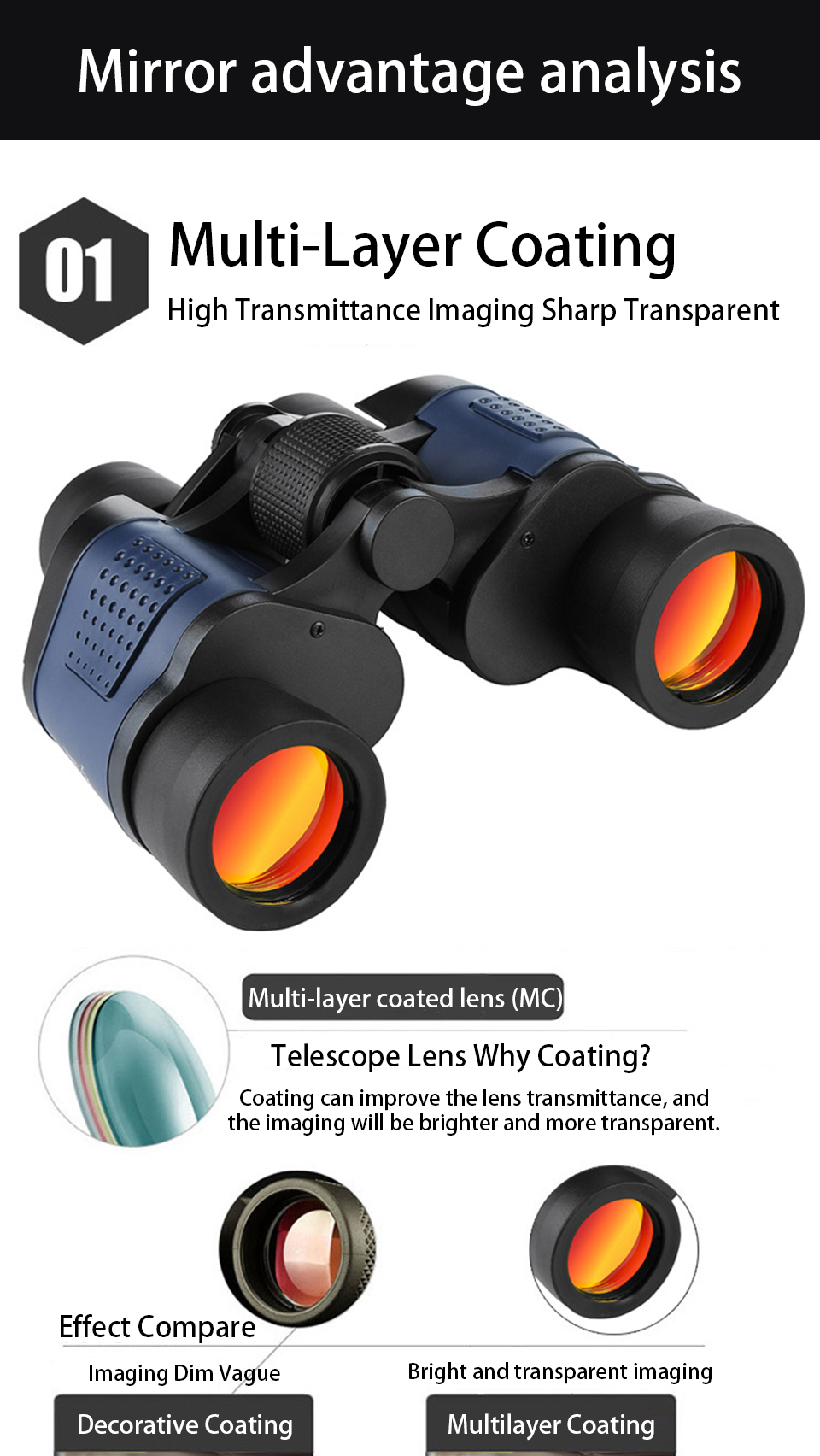 60x60 Binoculars HD Professional Powerful Optical Glass Low Light Night Vision Telescope High Power for Outdoor Hunting Camping, (Telescope For Sale, Telescope For Adults, Telescope For Kids, Telescope For Beginners, Best Outdoor Telescope).