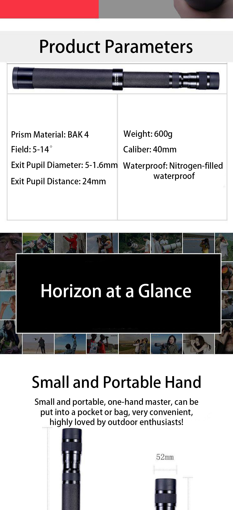 8-24x40 Zoom Stretch Monocular Telescop Professional Nitrogen-filled and Waterproof High Quality BAK4-Prism for Hiking Camping, (Telescope For Sale, Telescope For Adults, Telescope For Kids, Telescope For Beginners, Best Outdoor Telescope).