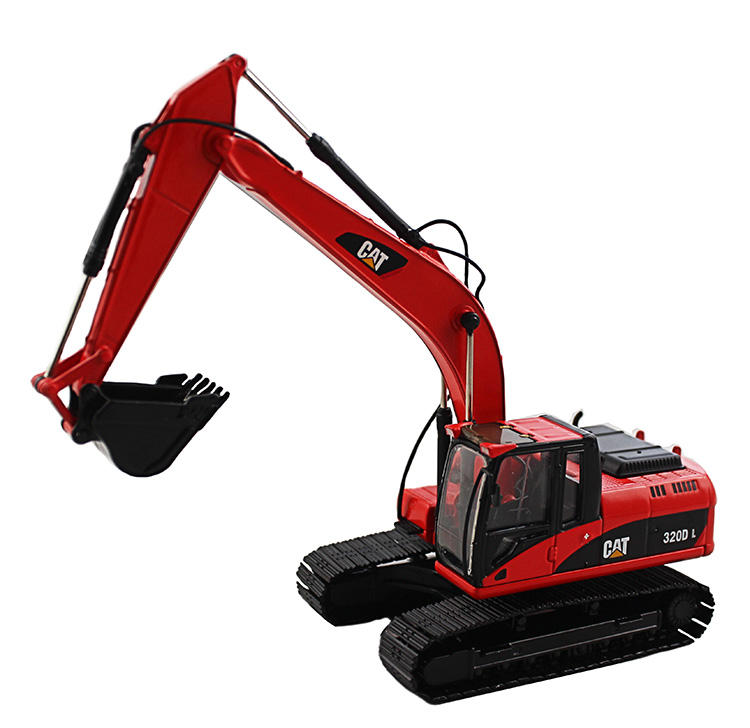 1:50 CAT320D Hydraulic Excavator with Red toys, (Scale Model Truck, Construction vehicles Scale Model, Alloy Toy Car, Diecast Scale Model Car, Collectible Model Car, Miniature Collection Die cast Toy Vehicles Gifts).