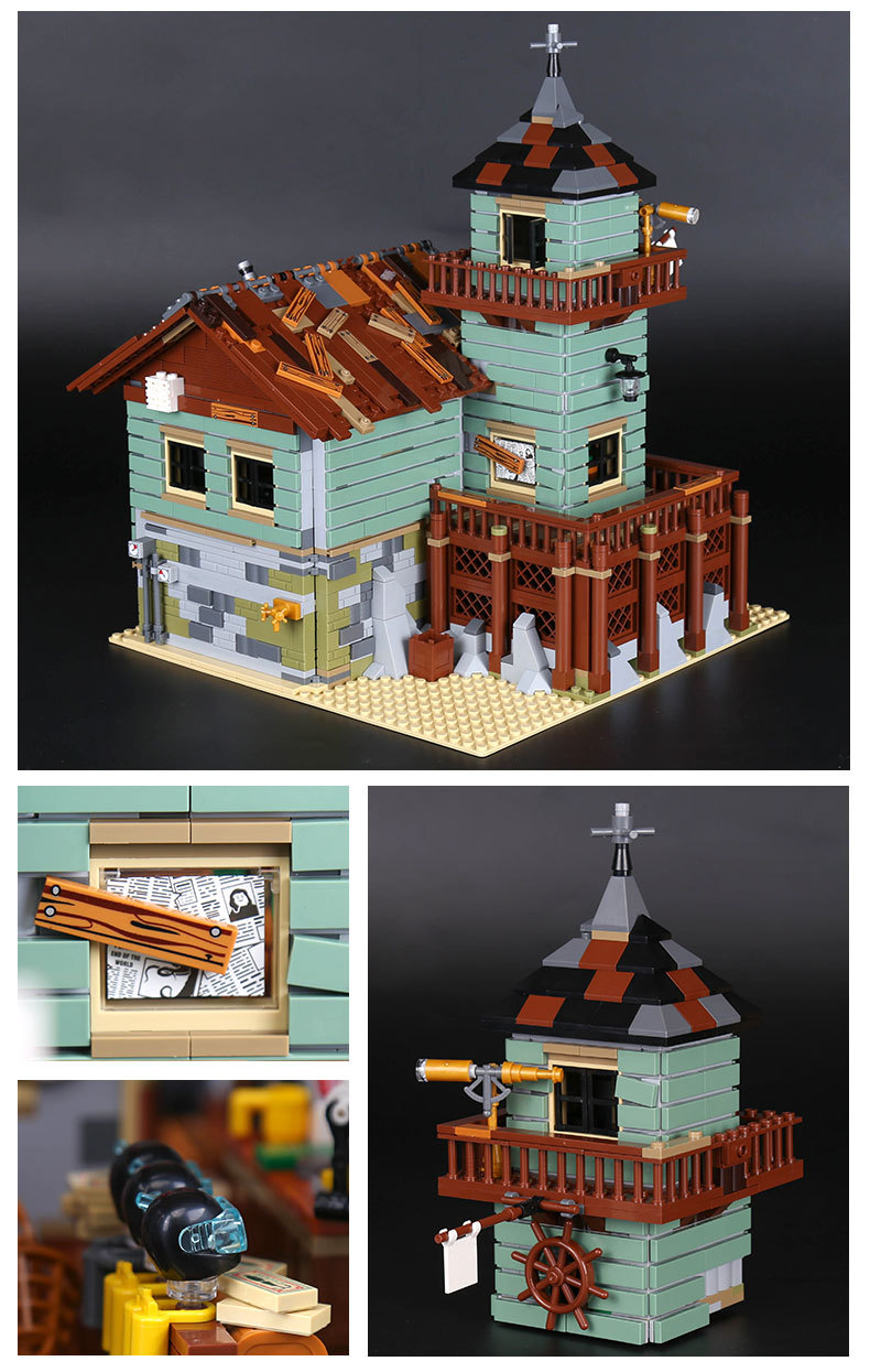 Custom Ideas Old Fishing Store Compatible Building Bricks Toy Set, (MOC Custom Brick Sets, Compatible Building Blocks Toys Ideas, Building Bricks Meaning)