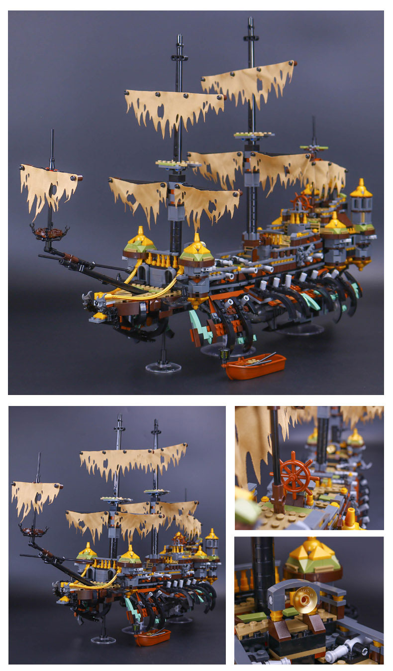 Custom Pirates Of The Caribbean Silent Mary Compatible Building Bricks Toy Set 2344 Pieces, (MOC Custom Brick Sets, Compatible Building Blocks Toys Ideas, Building Bricks Meaning)