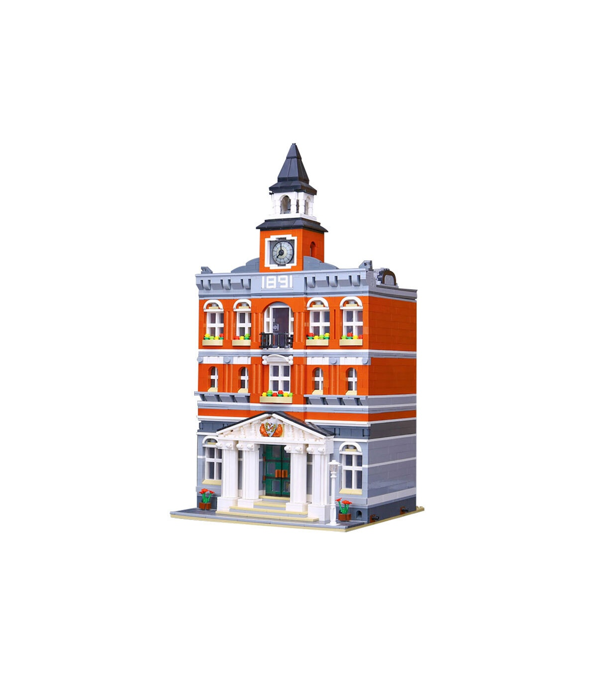 Custom Town Hall Creator Expert Compatible Building Bricks Toy Set 2859 Pieces, (MOC Custom Brick Sets, Compatible Building Blocks Toys Ideas, Building Bricks Meaning)