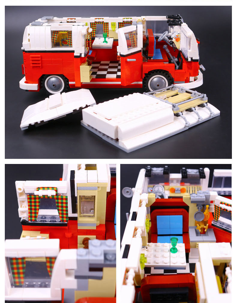 Custom Volkswagen T1 Camper Van Building Bricks Toy Set 1354 Pieces, (MOC Custom Brick Sets, Compatible Building Blocks Toys Ideas, Building Bricks Meaning)