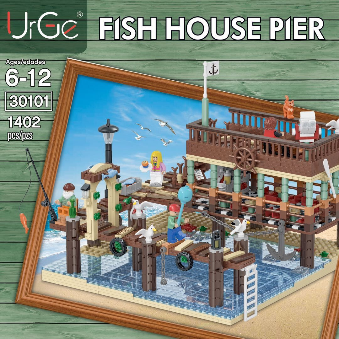Customer Fish House Pier For Old Fishing Store Building Bricks Toy Set 1402 Pieces (MOC Custom Brick Sets, Compatible Building Blocks Toys Ideas, Building Bricks Meaning)