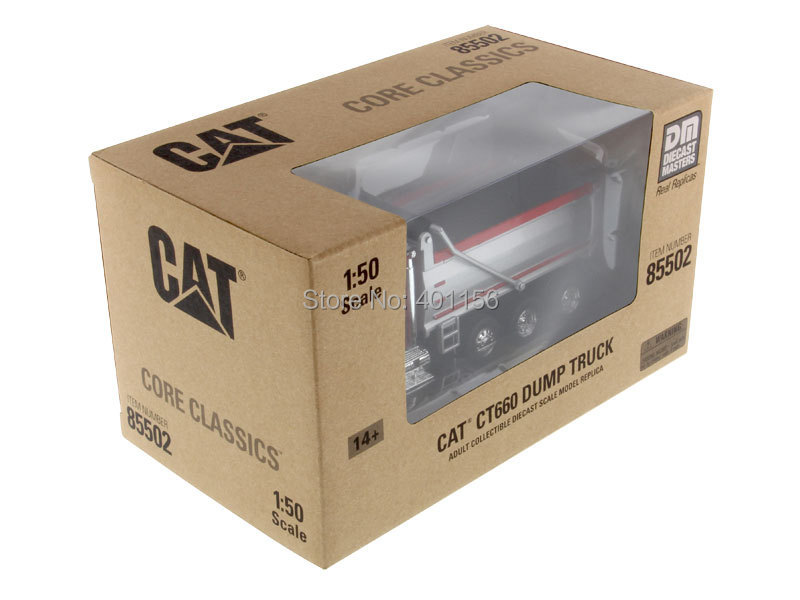 1:50 DM-85502 CAT CT660 Dump in Red Truck, (Scale Model Truck, Construction vehicles Scale Model, Alloy Toy Car, Diecast Scale Model Car, Collectible Model Car, Miniature Collection Die-cast Toy Vehicles Gifts).
