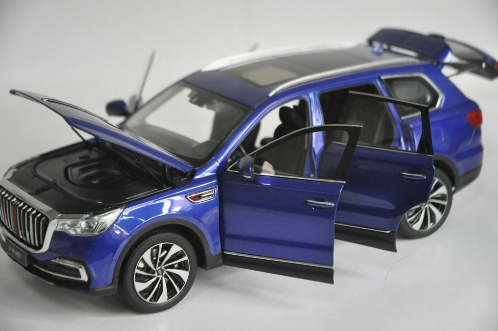 1:18 Diecast Model for FAW Hongqi HS7 2019 Blue Luxury SUV Alloy Toy Car Miniature Collection Gifts T2 (Alloy Toy Car, Diecast Scale Model Car, Collectible Model Car, Miniature Collection Die-cast Toy Vehicles Gifts)