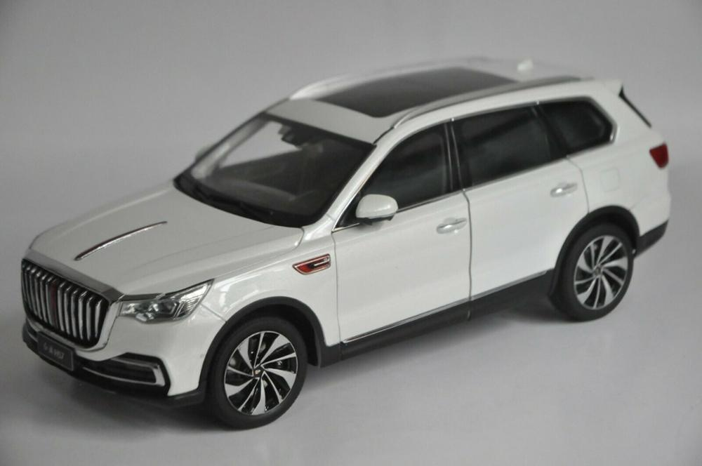 1:18 Diecast Model for FAW Hongqi HS7 2019 White Luxury SUV Alloy Toy Car Miniature Collection Gifts T2