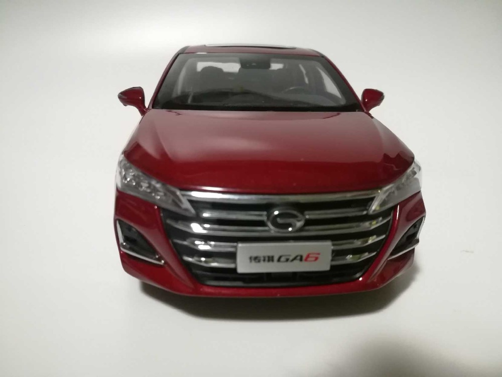 1:24 Diecast Model for GAC Trumpchi GA6 2019 Red Sedan Alloy Toy Car Miniature Collection Gifts China Brand