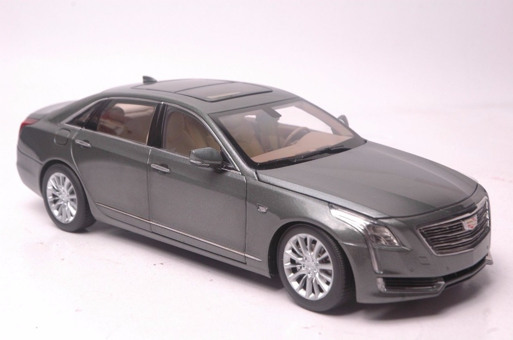 1:18 Diecast Model for GM Cadillac CT6 2016 Gray Sedan Alloy Toy Car Miniature Collection Gifts CT