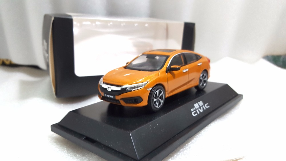 1:43 Diecast Model for Honda Civic 2016 MK10 Orange Alloy Toy Car Miniature Collection Gifts (Alloy Toy Car, Diecast Scale Model Car, Collectible Model Car, Miniature Collection Die-cast Toy Vehicles Gifts)