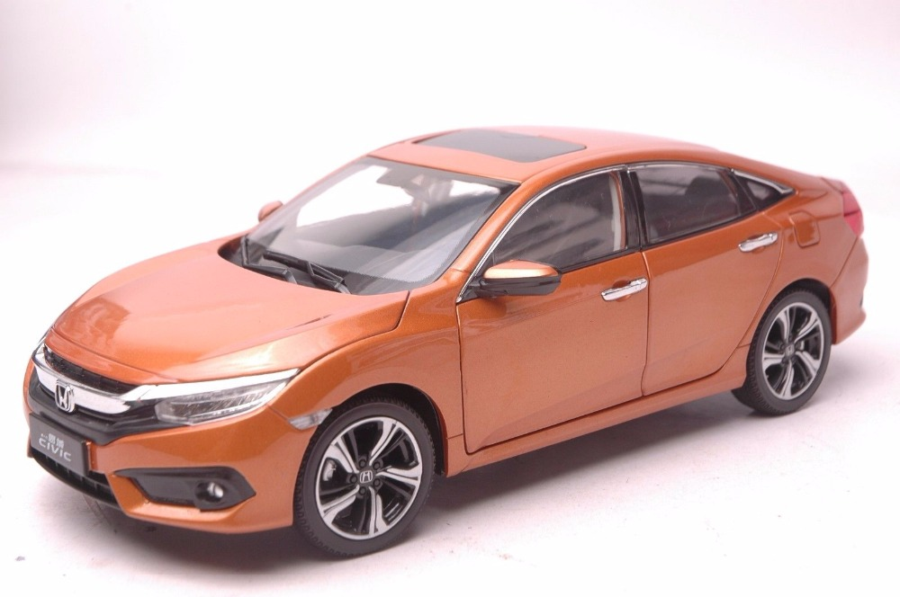 1:18 Diecast Model for Honda Civic 2016 MK10 Orange Sedan Alloy Toy Car Miniature Collection Gifts (Alloy Toy Car, Diecast Scale Model Car, Collectible Model Car, Miniature Collection Die-cast Toy Vehicles Gifts)