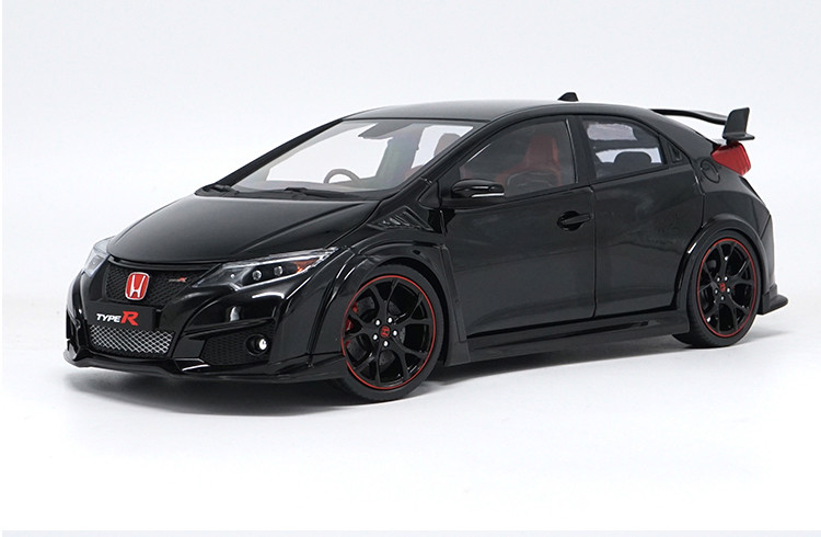 1:18 Diecast Model for Honda Civic TYPE R 2016 Black Alloy Toy Car Miniature Collection Gifts TYPER MK10 (Alloy Toy Car, Diecast Scale Model Car, Collectible Model Car, Miniature Collection Die-cast Toy Vehicles Gifts)