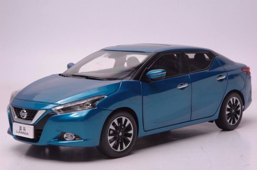 1:18 Diecast Model for Nissan Lannia Blue Bird 2015 Blue Alloy Toy Car Miniature Collection Gifts (Alloy Toy Car, Diecast Scale Model Car, Collectible Model Car, Miniature Collection Die-cast Toy Vehicles Gifts)
