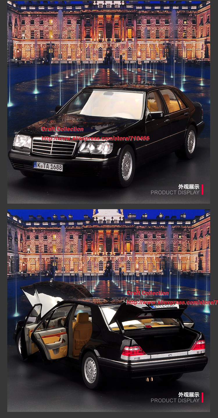 1:18 Diecast Model for Norev W140 S320 1997 Classic Sedan Alloy Toy Car Miniature Collection Gift S600 S500