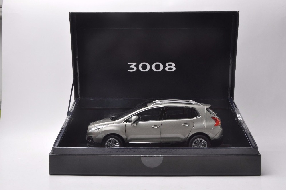 1:18 Diecast Model for Peugeot 3008 2013 Gray SUV Alloy Toy Car Miniature Collection Gift (Alloy Toy Car, Diecast Scale Model Car, Collectible Model Car, Miniature Collection Die-cast Toy Vehicles Gifts)