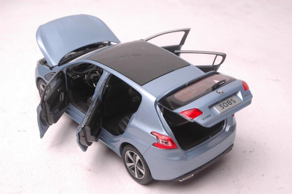 1:18 Diecast Model for Peugeot 308S 2015 Blue Hatchback Alloy Toy Car Miniature Collection Gift 308 (Alloy Toy Car, Diecast Scale Model Car, Collectible Model Car, Miniature Collection Die-cast Toy Vehicles Gifts)