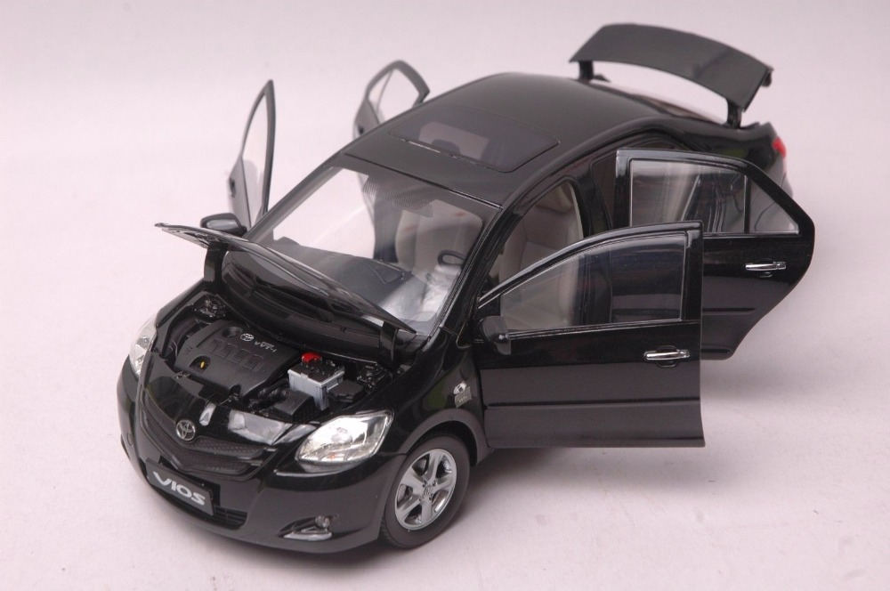 1:18 Diecast Model for Toyota Vios 2008 Black Sedan Alloy Toy Car Miniature Collection Gift (Alloy Toy Car, Diecast Scale Model Car, Collectible Model Car, Miniature Collection Die-cast Toy Vehicles Gifts)