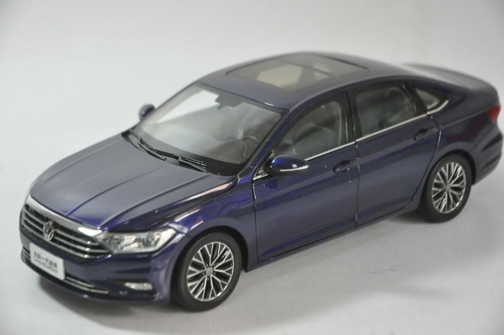 1:18 Diecast Model for Volkswagen VW Sagitar Jetta Long-Wheelbase 2019 Blue Alloy Toy Car Miniature Collection Gifts