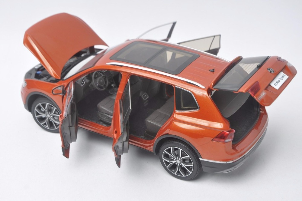 1:18 Diecast Model for Volkswagen VW Tiguan L 2017 Orange Alloy Toy Car Miniature Collection Gifts (Alloy Toy Car, Diecast Scale Model Car, Collectible Model Car, Miniature Collection Die-cast Toy Vehicles Gifts)
