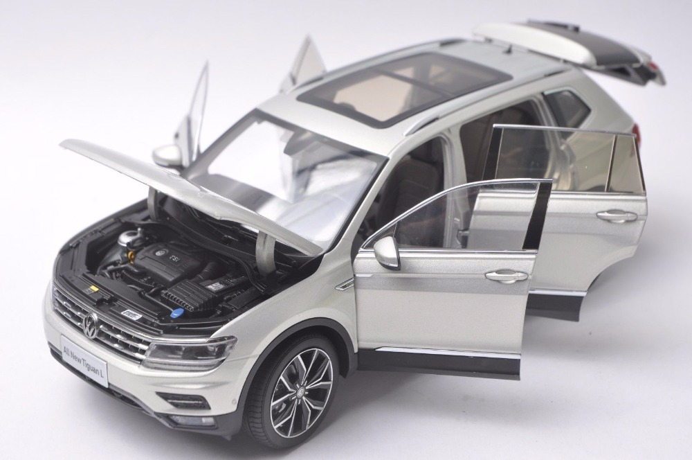 1:18 Diecast Model for Volkswagen VW Tiguan L 2017 Silver SUV Alloy Toy Car Miniature Collection Gifts (Alloy Toy Car, Diecast Scale Model Car, Collectible Model Car, Miniature Collection Die-cast Toy Vehicles Gifts)