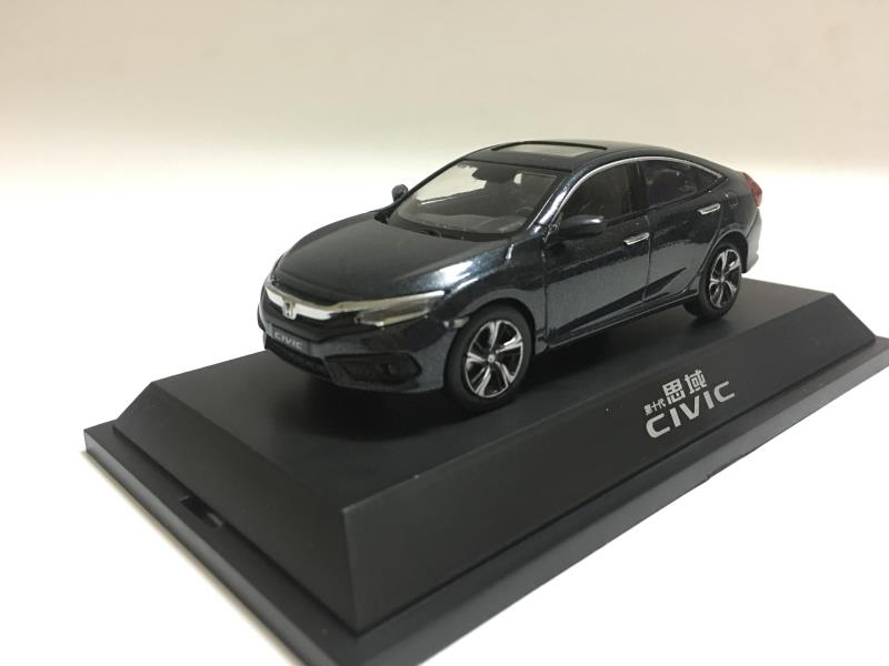 1:43 Diecast Model for Honda Civic 2016 MK10 Deep Blue Alloy Toy Car Miniature Collection Gifts
