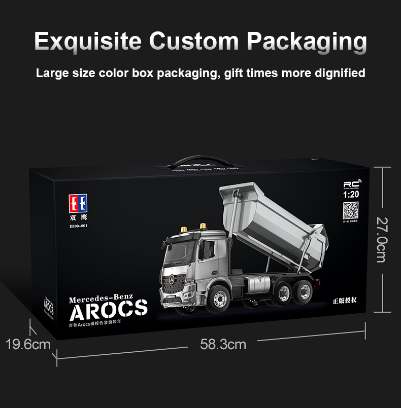 1/20 E590 Alloy RC Truck 2.4G Remote Controlled Car Caterpillar Model Dump Trucks Tractor Engineering cars radio Tipper Toy boys