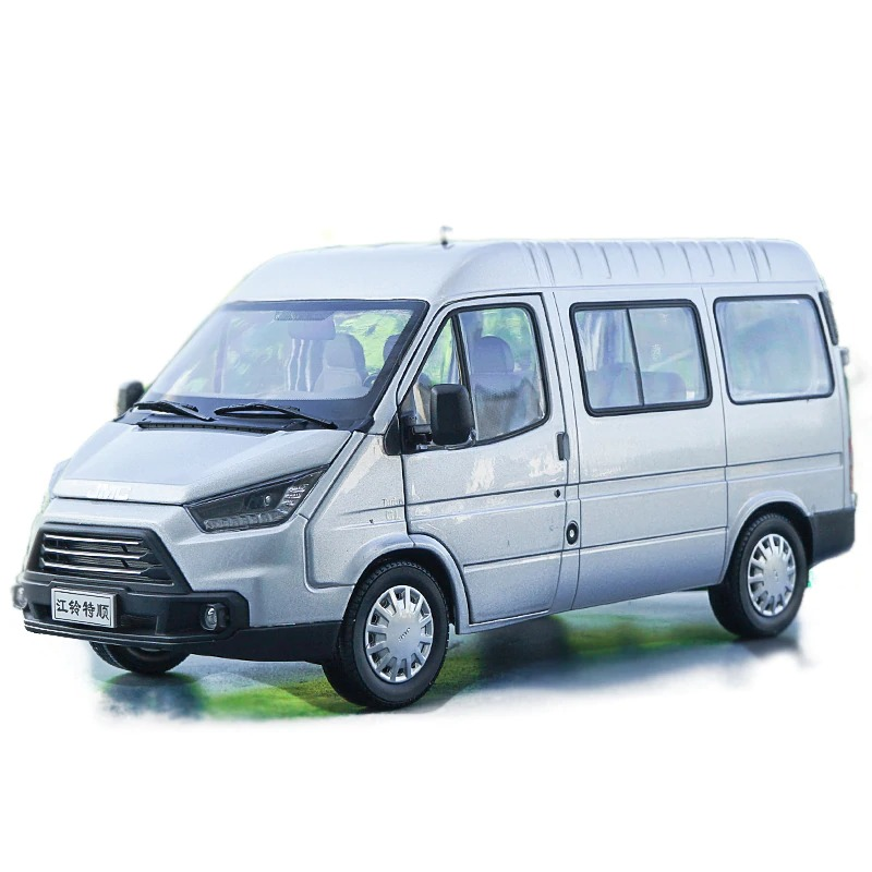 1/18 Ford JMC Teshun Transit Silver MPV Truck Van Alloy Toy Car, Diecast Scale Model Car, Collectible Model Car, Miniature Collection Die-cast Toy Vehicles Gifts