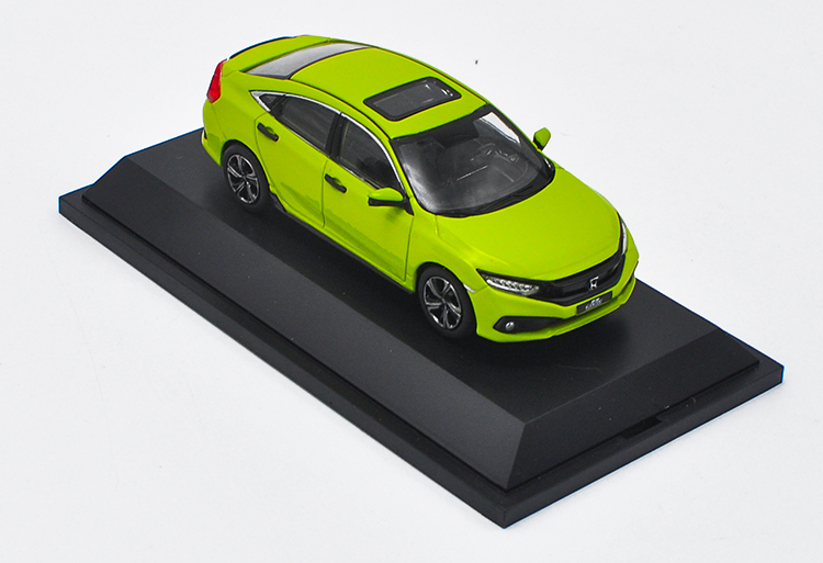 1/43 Honda Civic 2019 MK10 Green Alloy Toy Car, Diecast Scale Model Car, Collectible Model Car, Miniature Collection Die-cast Toy Vehicles Gifts