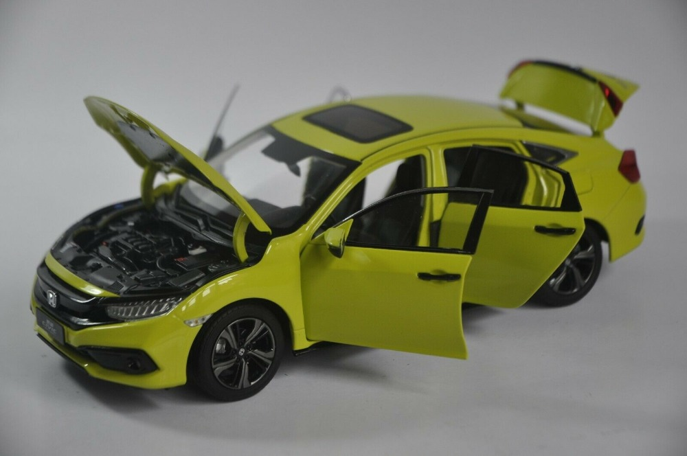 1/18 Honda Civic 2019 MK10 Yellow Sedan Alloy Toy Car, Diecast Scale Model Car, Collectible Model Car, Miniature Collection Die-cast Toy Vehicles Gifts