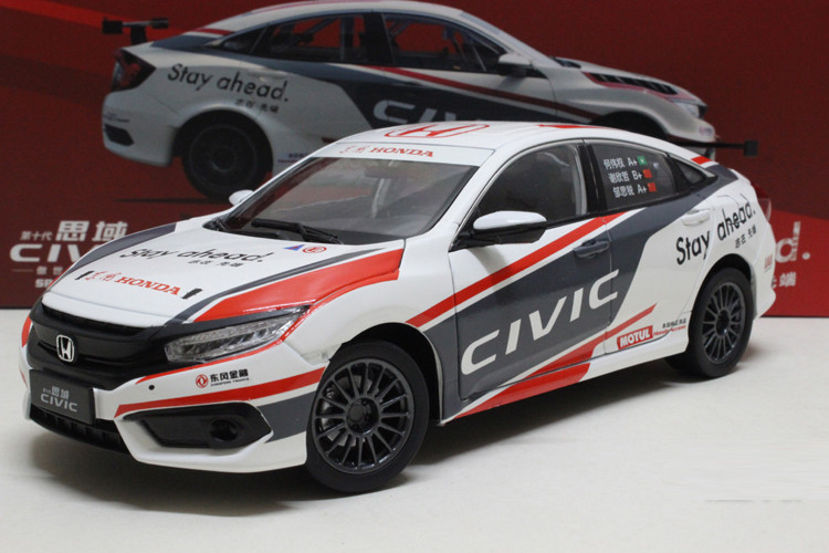 1/18 Honda Civic CTCC 2016 MK10 Blue Racing Alloy Toy Car, Diecast Scale Model Car, Collectible Model Car, Miniature Collection Die-cast Toy Vehicles Gifts