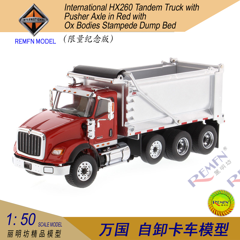 1:50 Scale Diecast Masters International HX260 Tandem Truck with Pusher Axle in Red with Ox Bodies Stampede Dump Bed Die-cast Scale Model.