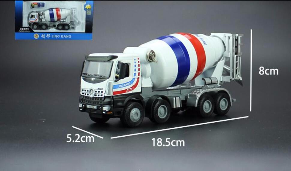 1:50 JING BANG Mixer With White toy, (Scale Model Truck, Construction vehicles Scale Model, Alloy Toy Car, Diecast Scale Model Car, Collectible Model Car, Miniature Collection Die-cast Toy Vehicles Gifts).