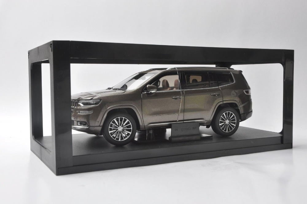 1/18 Jeep Grand Commander 2018 Brown SUV Alloy Toy Car, Diecast Scale Model Car, Collectible Model Car, Miniature Collection Die-cast Toy Vehicles Gifts