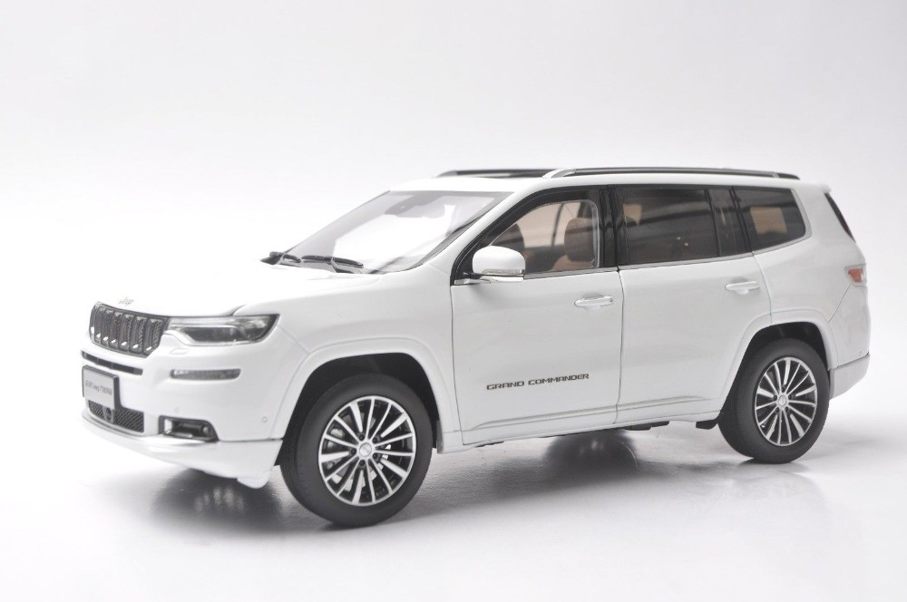 1/18 Jeep Grand Commander 2018 White SUV Alloy Toy Car, Diecast Scale Model Car, Collectible Model Car, Miniature Collection Die-cast Toy Vehicles Gifts