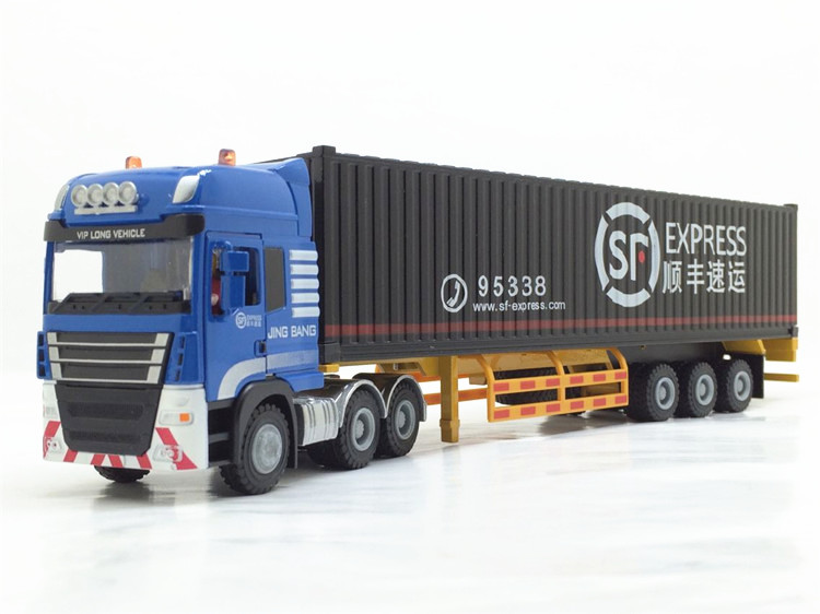 1:50 JingBang Tent Platform Transporter container With SF, (Scale Model Truck, Construction vehicles Scale Model, Alloy Toy Car, Diecast Scale Model Car, Collectible Model Car, Miniature Collection Die cast Toy Vehicles Gifts).
