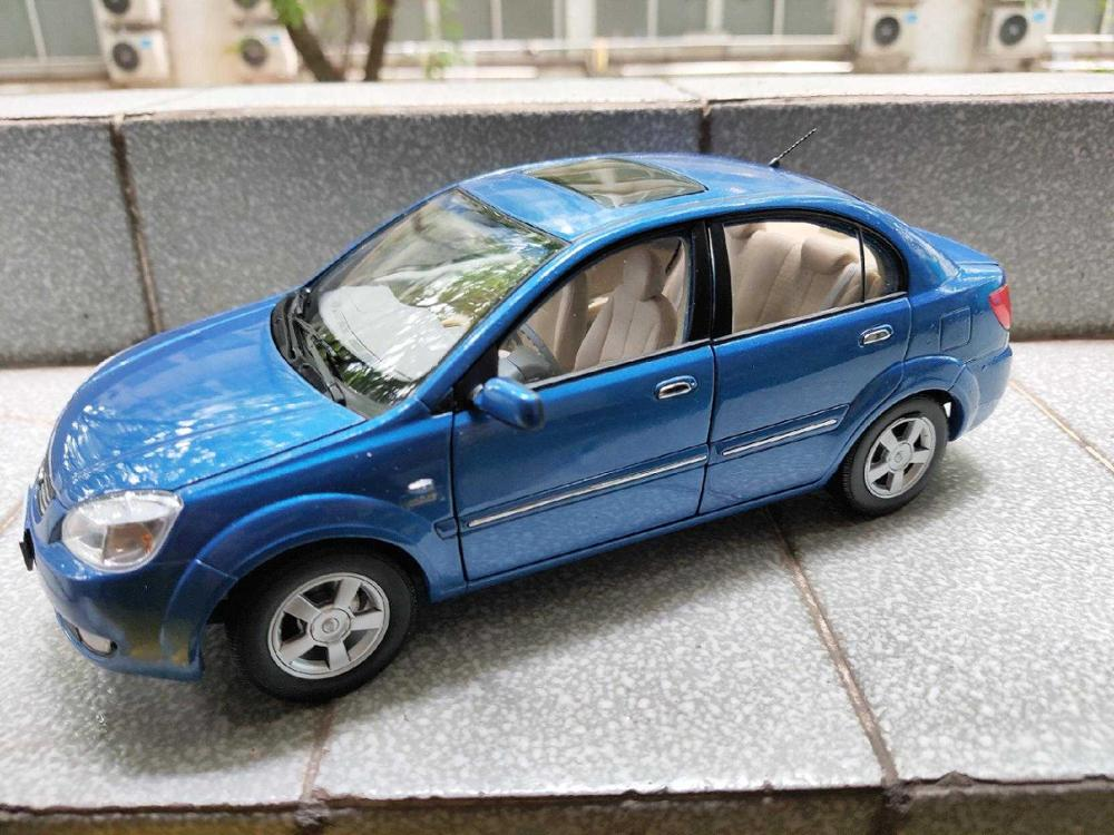 1/18 Kia Rio 2007 Blue Sedan Rare Alloy Toy Car, Diecast Scale Model Car, Collectible Model Car, Miniature Collection Die-cast Toy Vehicles Gifts