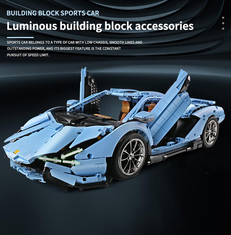 MOULD KING 13056D Lamborghini Sian FKP 37 Motor Edition Remote Control Building Blocks Toy Set, (MOC Custom Brick Sets, Compatible Building Blocks Toys Ideas, Building Bricks Meaning)