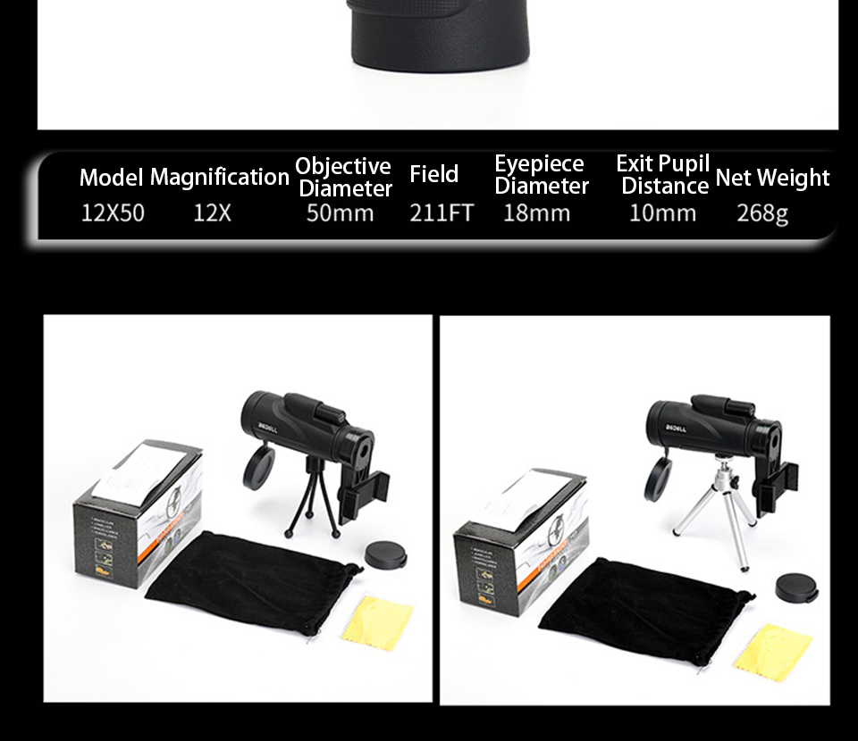 Monocular 12x50 Powerful Professional Night Vision High Quality Zoom Binoculars Long Range Scope Telescope for Camping Hunting, (Telescope For Sale, Telescope For Adults, Telescope For Kids, Telescope For Beginners, Best Outdoor Telescope).