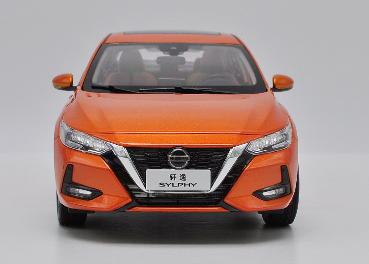 1/18 Nissan Sylphy 2019 Orange Alloy Toy Car, Diecast Scale Model Car, Collectible Model Car, Die cast Toy Vehicles