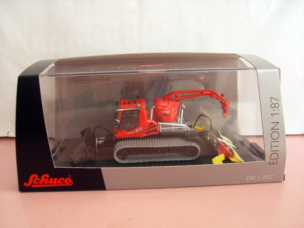 1:87 Piste Bully 600 with crane and winch toy, (Scale Model Truck, Construction vehicles Scale Model, Alloy Toy Car, Diecast Scale Model Car, Collectible Model Car, Miniature Collection Die cast Toy Vehicles Gifts).
