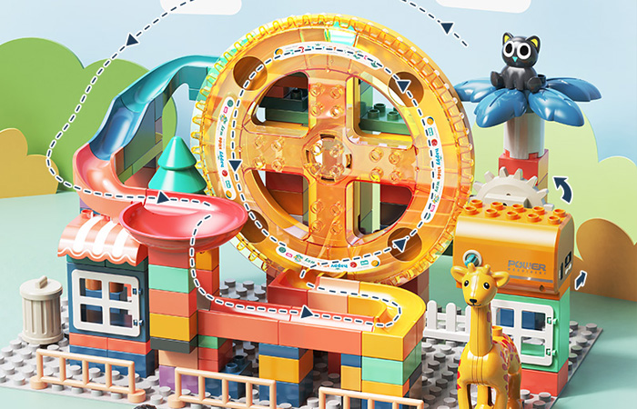 Twice Size Large Building Block Sets, Marbles Run Track Toy, Children's toys, birthday gifts, Christmas gifts. Seaside villa + Ferris wheel + slide ball elevator Large building blocks play set.