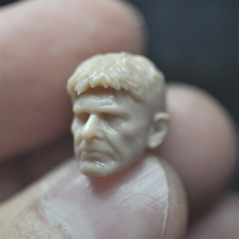 1/18 Scale Senior Harrison Ford Rick Dika Unpainted Head Sculpture Model Fit 3.75¡± Male Soldier Action Figure Body In Stock