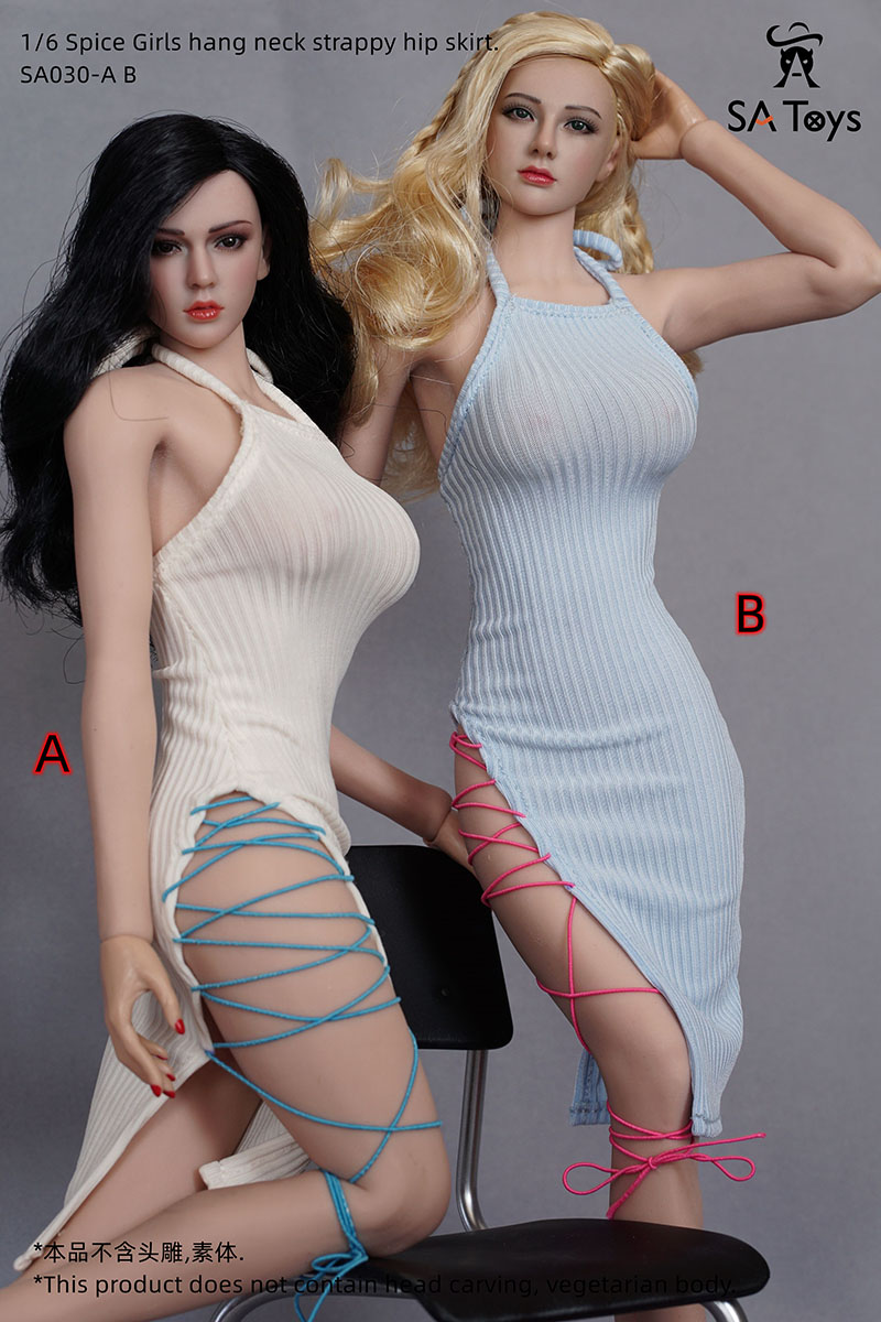 1/6 Scale Sexy Hot Girl Halter Neck Strap Bag Hip Skirt Fit 12