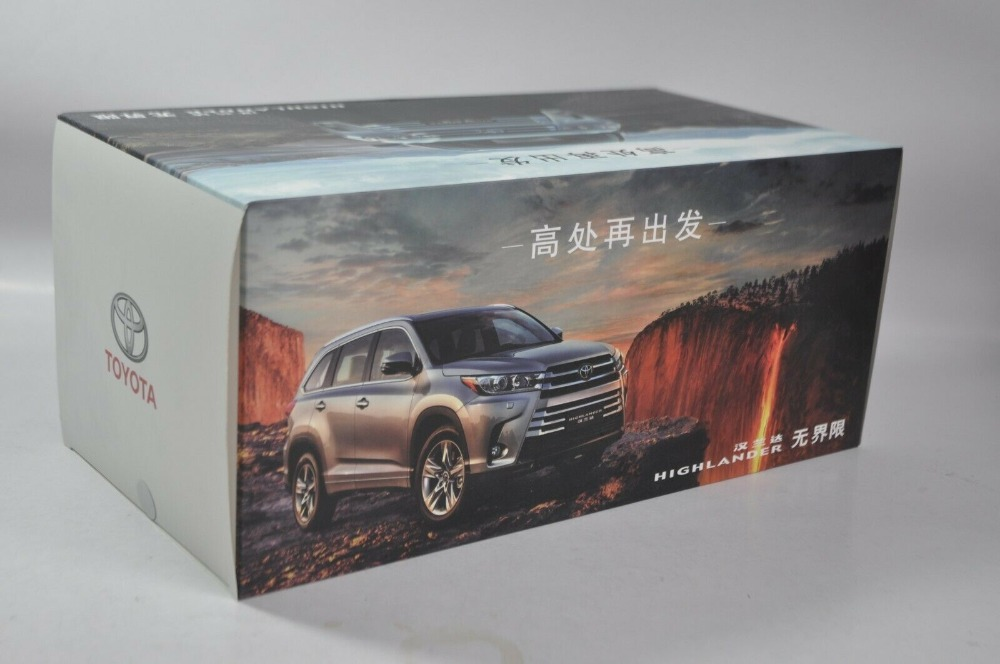 1/18 Toyota Highlander 2018 Black SUV Alloy Toy Car, Diecast Scale Model Car, Collectible Model Car, Miniature Collection Die-cast Toy Vehicles Gifts